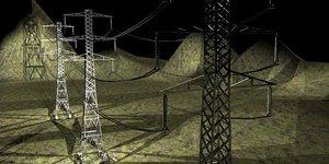 poles lines 3d model