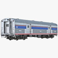 railroad amtrak baggage car interior 3d model
