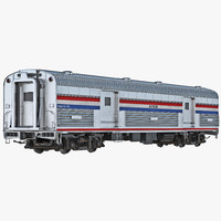 railroad amtrak baggage car 3d model
