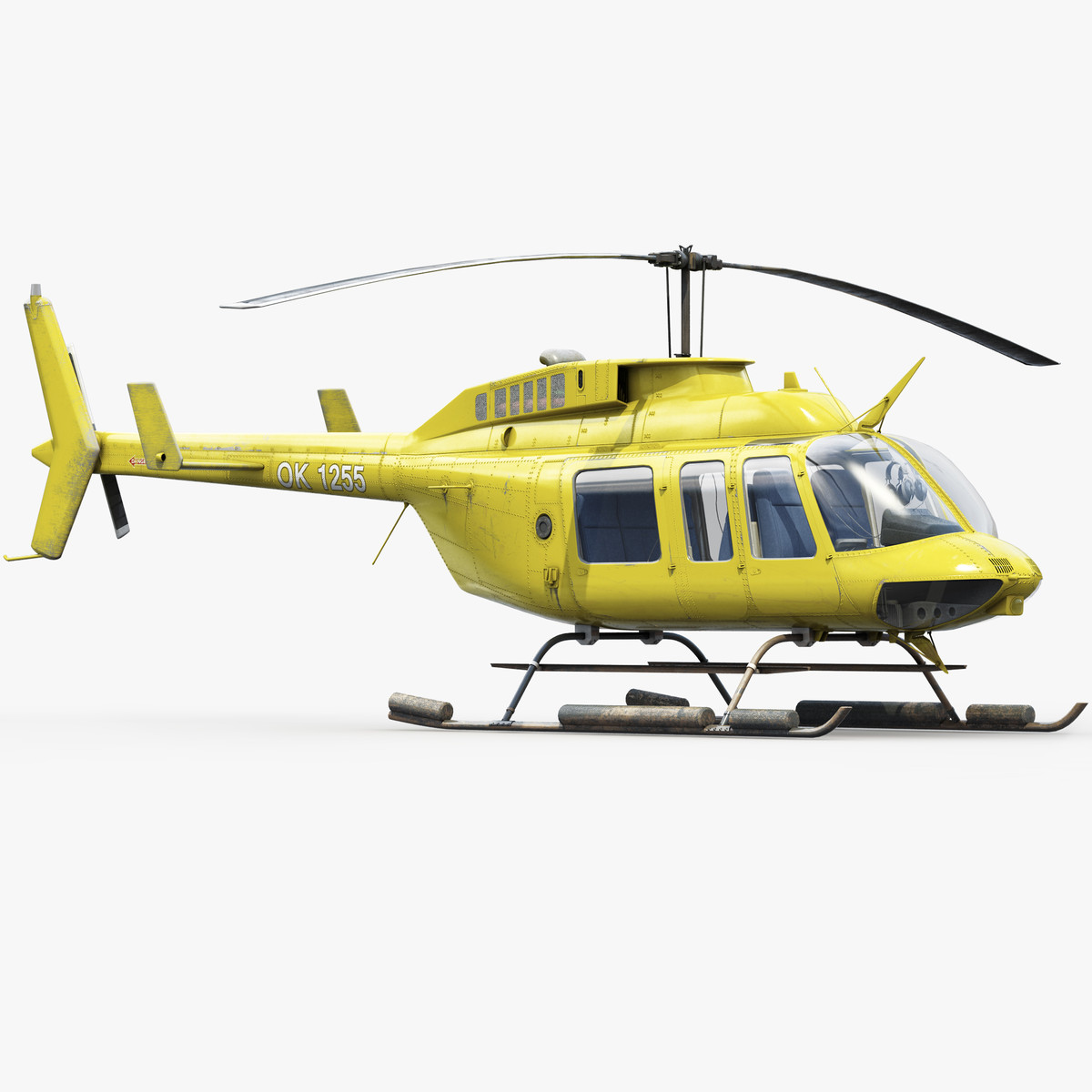 bell 206l helicopter 3d model