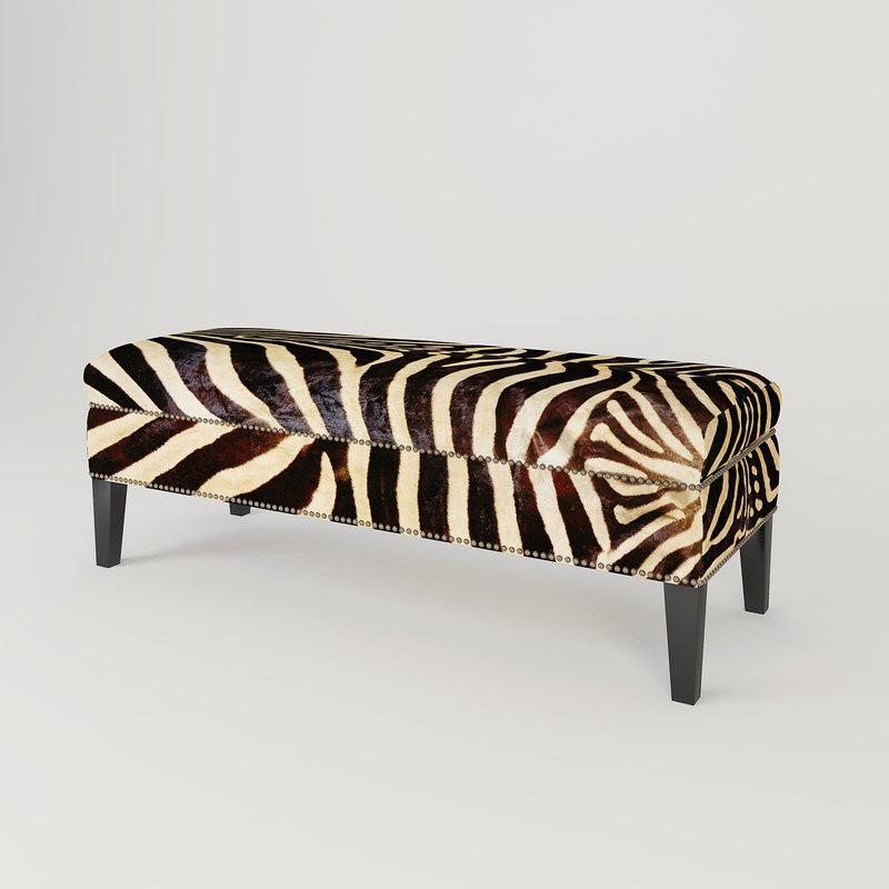 3ds max 2010 v ray 2 40 03 file formats fbx obj dog beds - Eichholtz Bench Jenner Zebra 3d 3ds