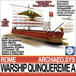 ancient roman warship quinquereme obj