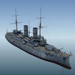 3d russian warship slava war model