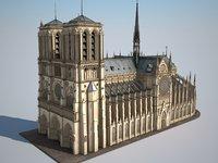 cathedral paris notre-dame 3d obj