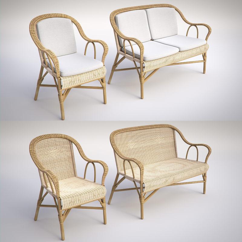 wicker chair sofa 3d max