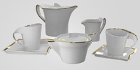 White and Gold Ceramic Set