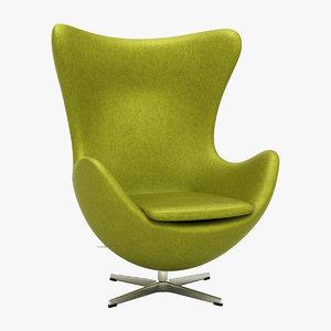 3d arne jacobson egg chair model