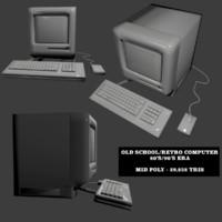 old retro computer 3d model