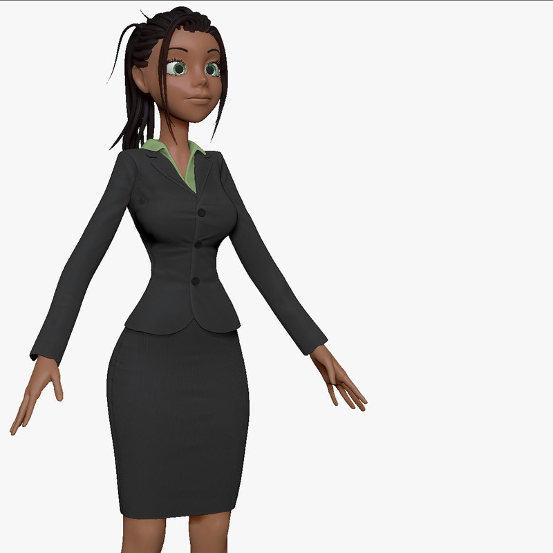 3d model of cartoon woman business