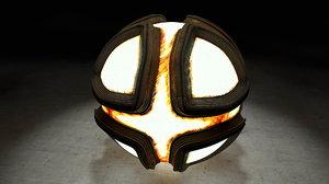 glowing metal sphere c4d