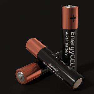3d model aaa battery