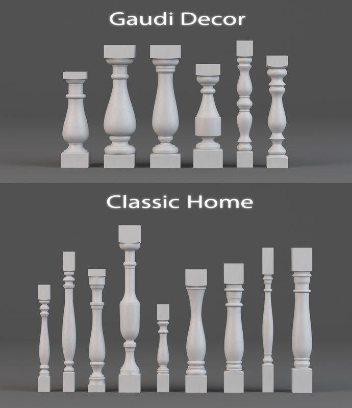3d balusters gaudi decor classic model