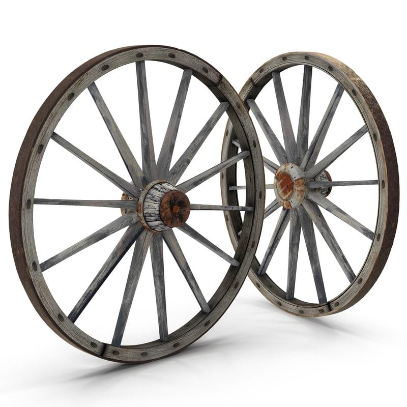 max old wooden wagon wheel