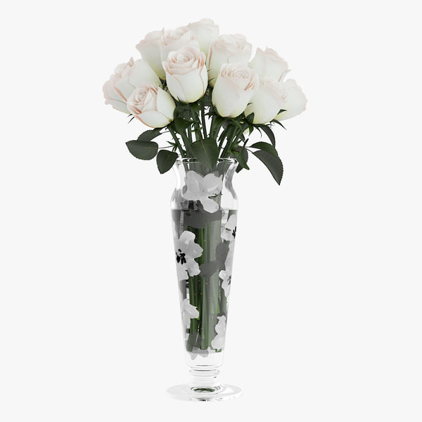 3d bouquet white roses glass vase