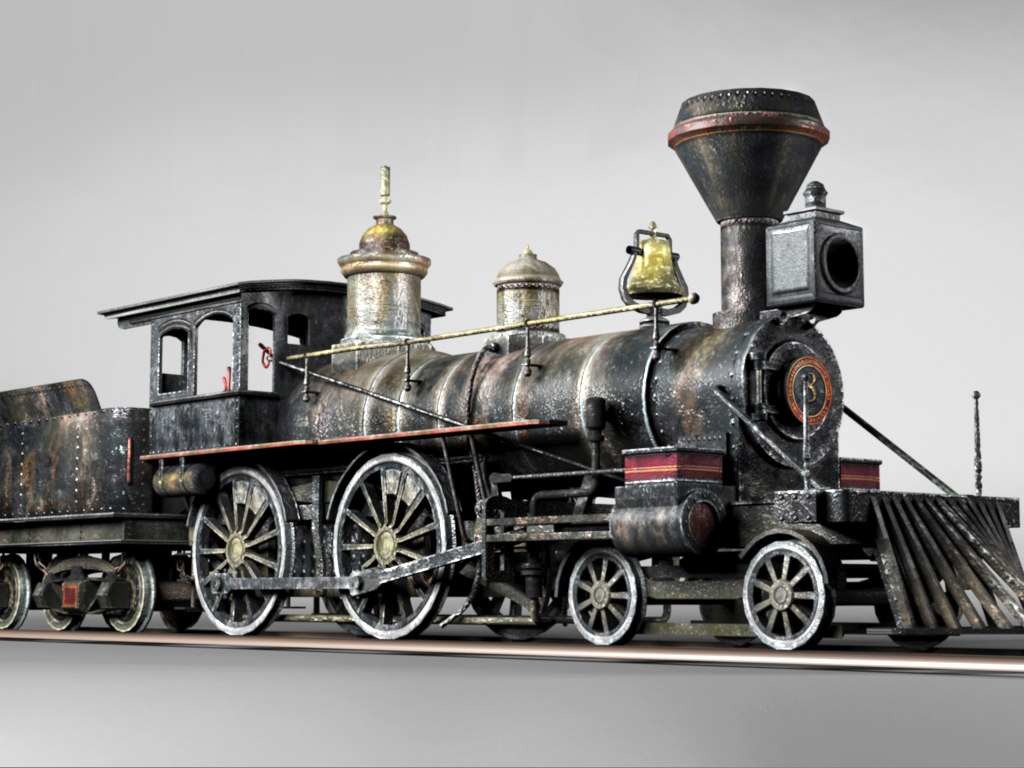 historical american steam locomotive 3d model