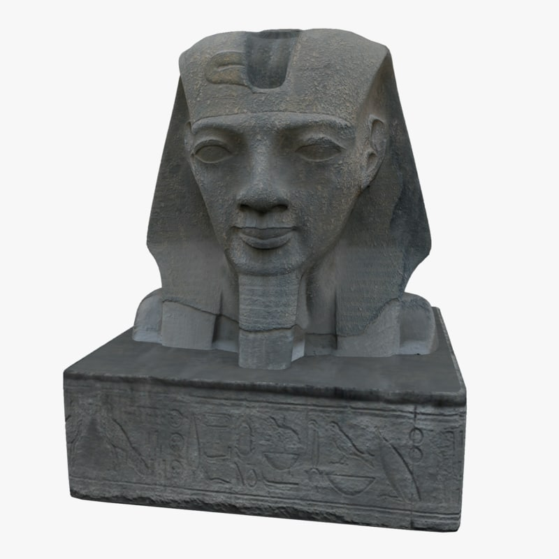 3d statue egyptian head