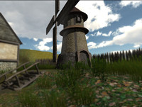 Medieval wind mill (animated+sound)