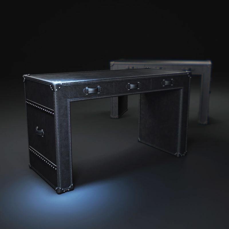 3d model of mayfair-steamer-trunk-3-drawer-desk