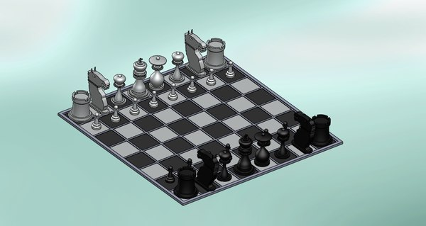 chess board 3d dwg