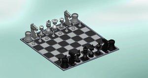 chess board 3d dwg