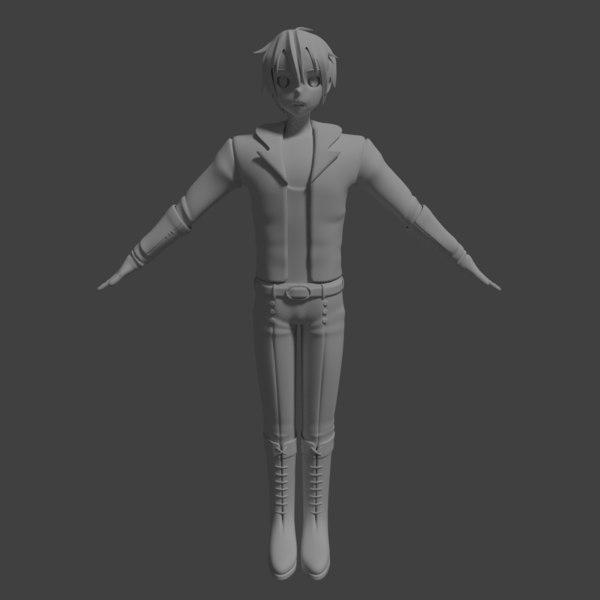 free blend model male manga character