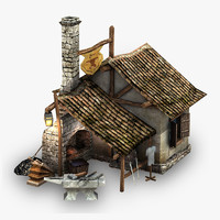 3d max low-poly blacksmith