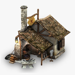 3d max low-poly blacksmith