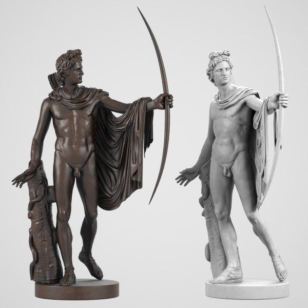 apollo belvedere sculptures 3d model