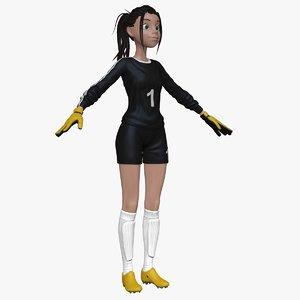 sculpt female cartoon goal 3d model