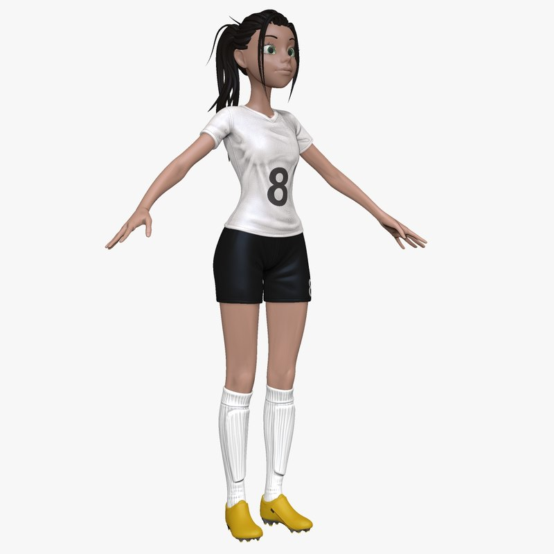 sculpt female cartoon soccer player obj
