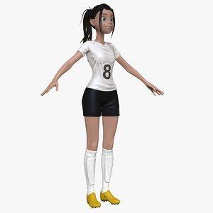sculpt female cartoon soccer player obj