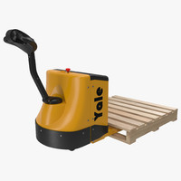 Powered Pallet Jack and Wooden Pallet 3D Model