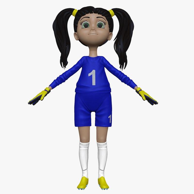 sculpt cartoon girl soccer goal 3d model
