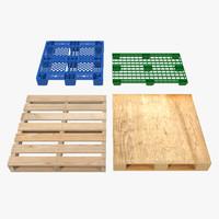 3d model pallets set modeled