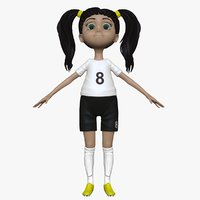 3d obj sculpt cartoon girl soccer player