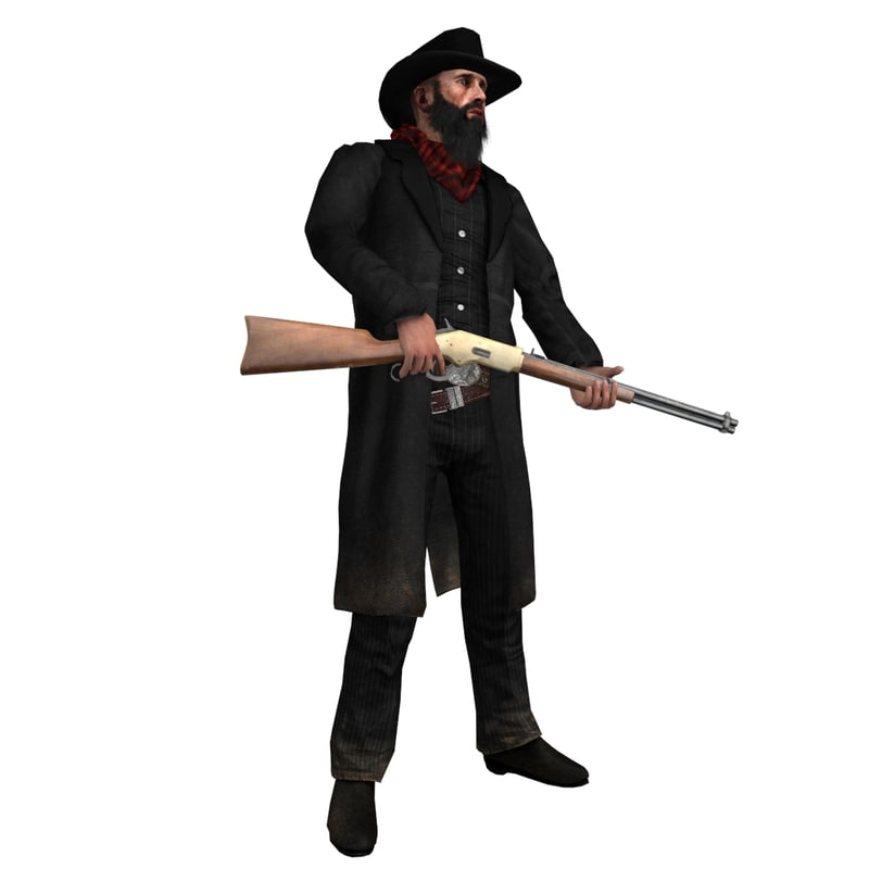 3d model rigged cowboy