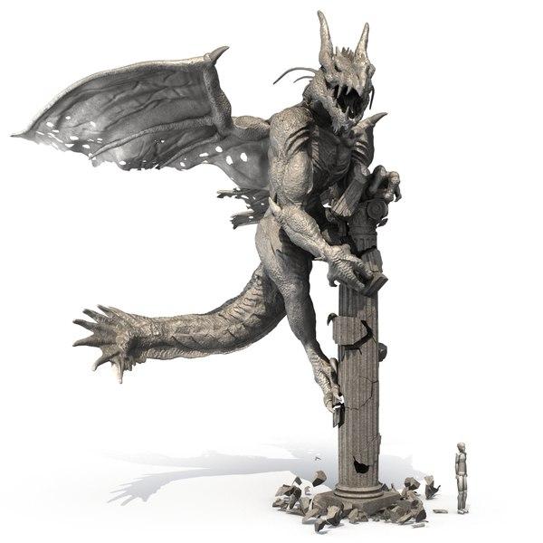 3d statue dragon model