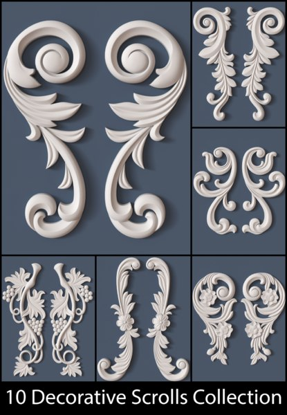 3d decorative scroll model