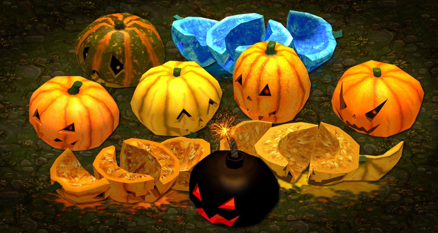 spooky pumpkins 3d fbx
