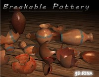 3d model breakable vases bowls