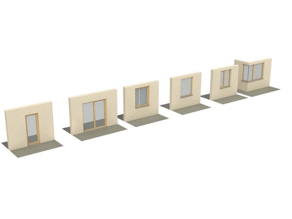 wooden windows viz 3d 3ds