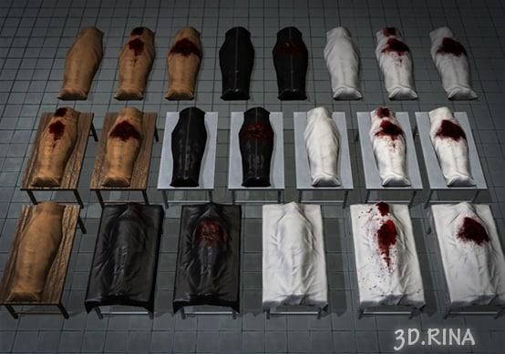 pack body bags 3d fbx