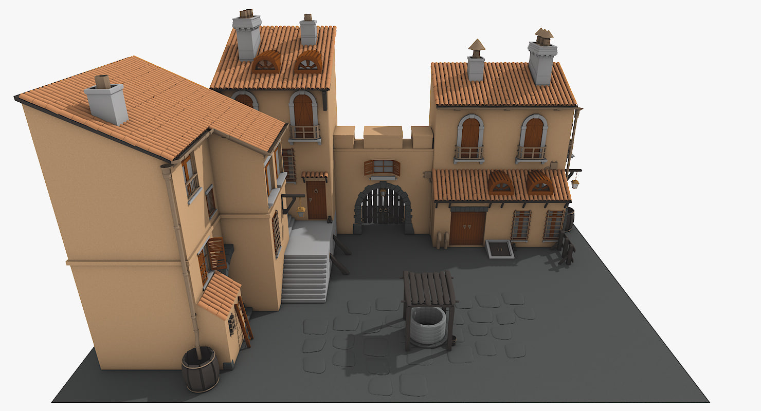 cartoon old town architectural 3d model