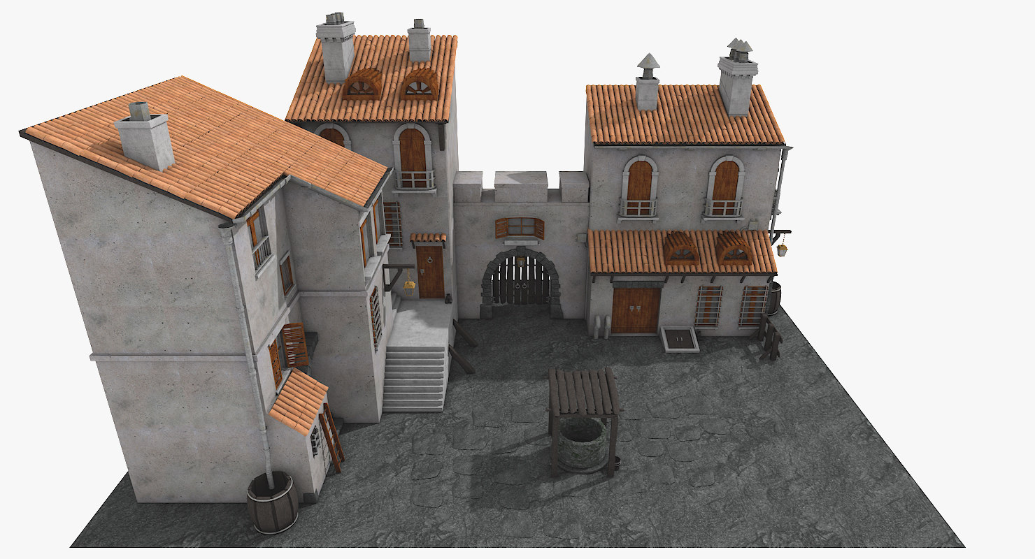c4d old town medieval architectural