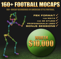 160+ Football Mocap Animations