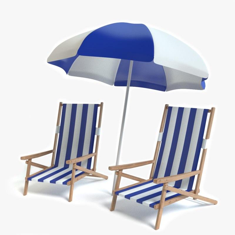 beach chairs umbrella 3d model