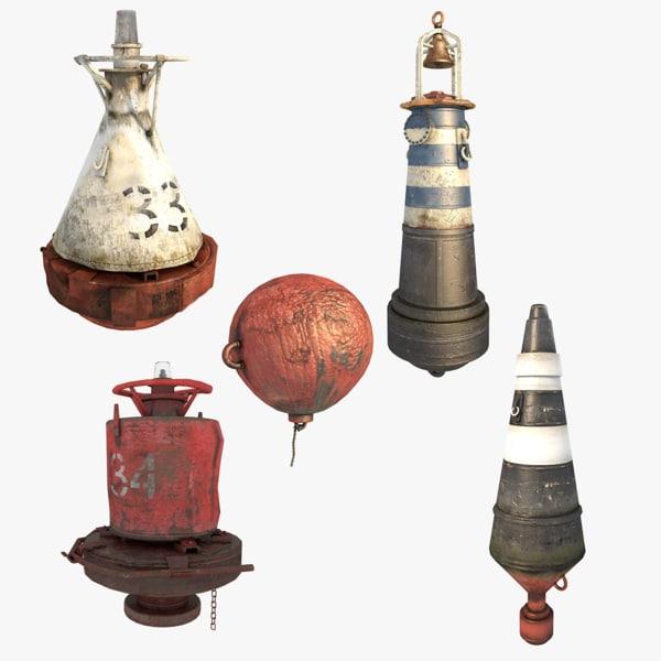marine buoys 3d c4d