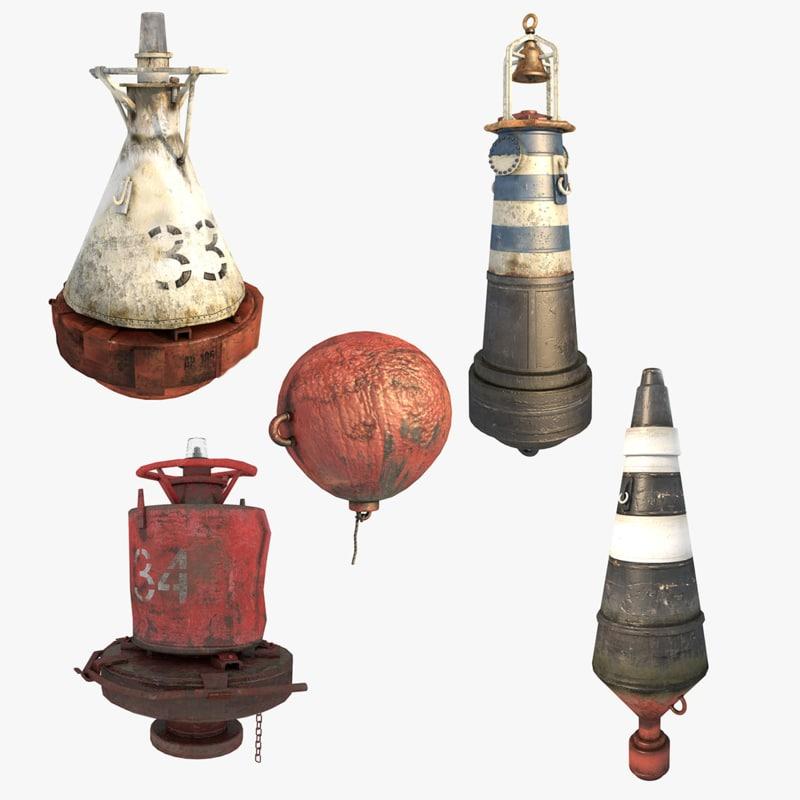 3d marine buoys model