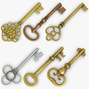 realistic vintage key set 3d 3ds