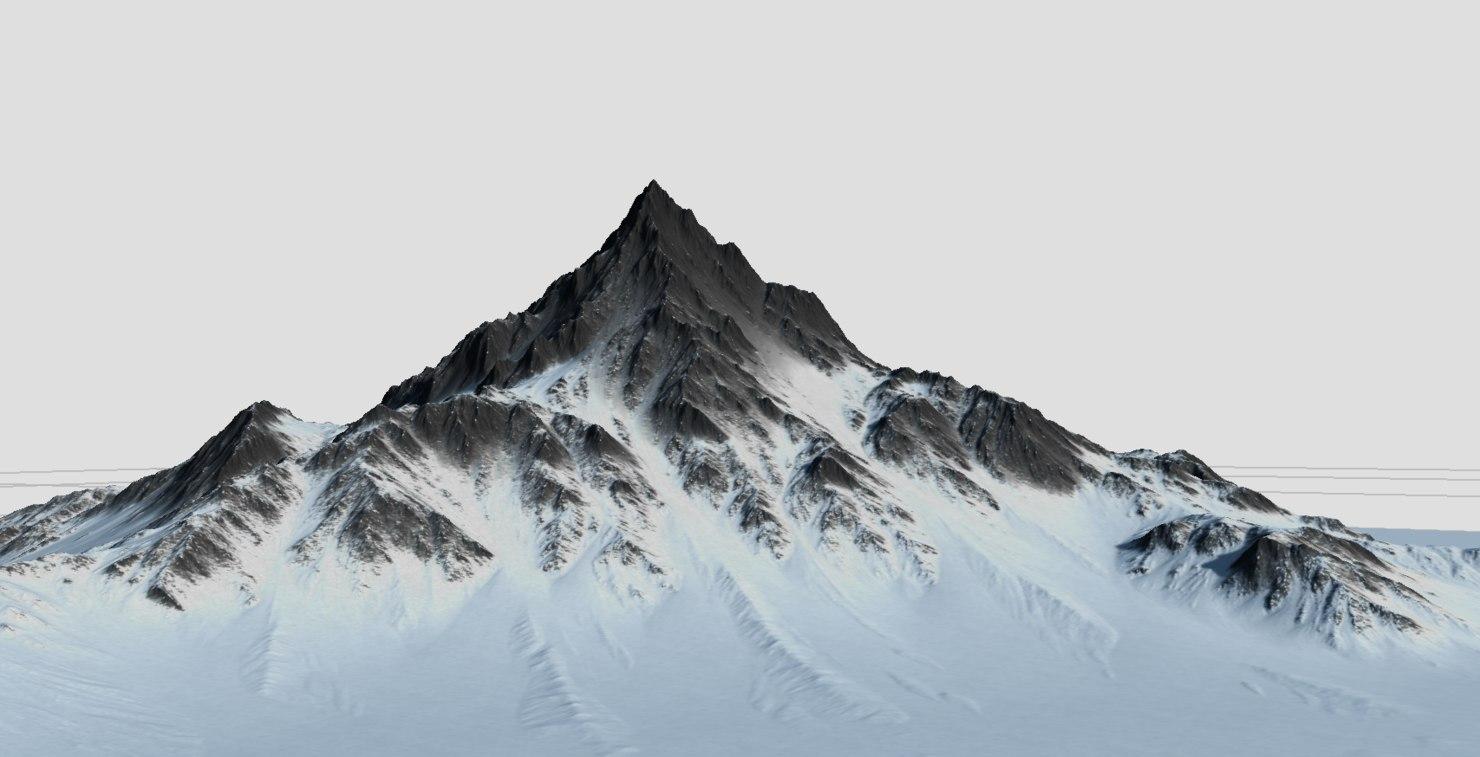 3d model terrains snow mountain